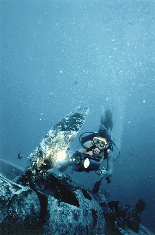 ZERO FIGHTER AT 80 feet/26Meters, Palau, Micronesia, Pacific Ocean ~ id# aquawoman GB006