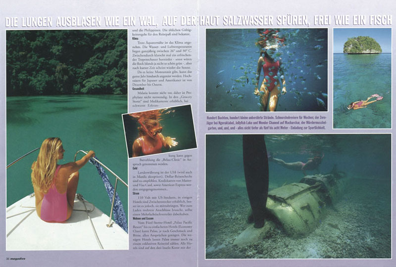 MEGADIVE - MAGAZINE TEARSHEET -  Rock Islands -  Palau, Micronesia, Pacific Ocean ~ id# aquawoman GB014