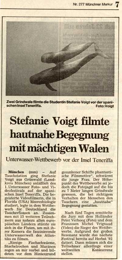 MUENCHNER MERKUR NEWSPAPER - Stefanie Voigt films wahles in Tenerife/Spain